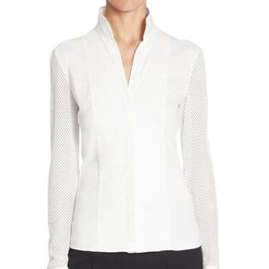 Akris punto- Elements Mesh-Sleeve Blouse